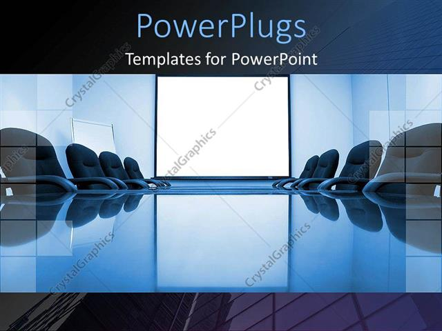 PowerPoint Template blue conference room with office chairs and - office powerpoint template