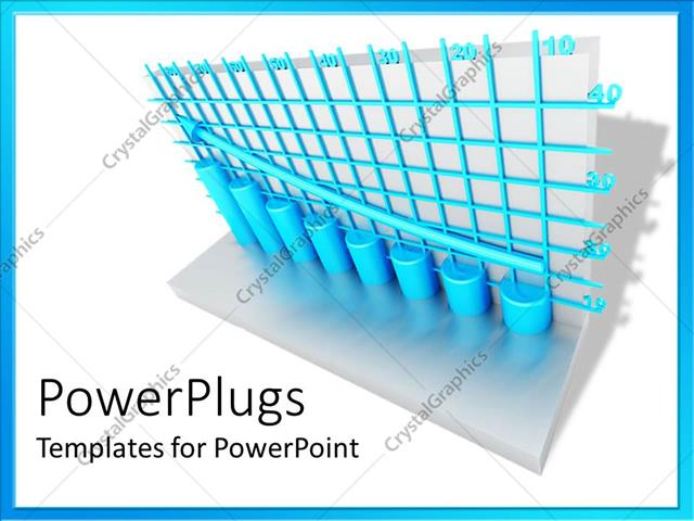 PowerPoint Template blue grid lines and round columns with arrow