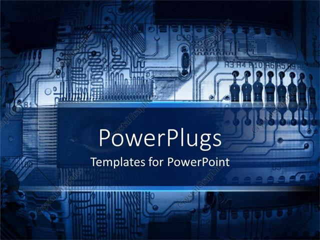 PowerPoint Template Blue printed circuit board, motherboard