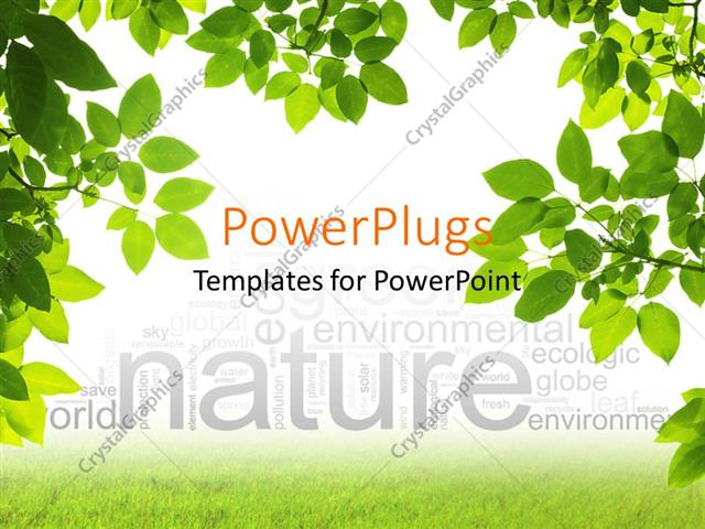 PowerPoint Template Branches of green leaves framing nature word