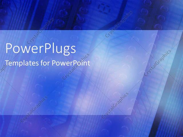 PowerPoint Template Bright electric blue circuit board with angles