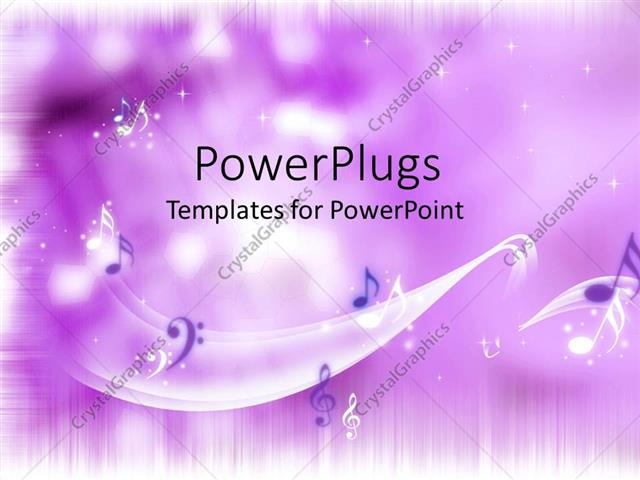 PowerPoint Template bright purple background with music notes (21076)