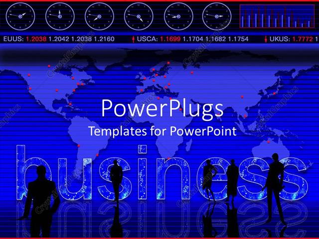 PowerPoint Template Business theme with world map, business people - 5630 template