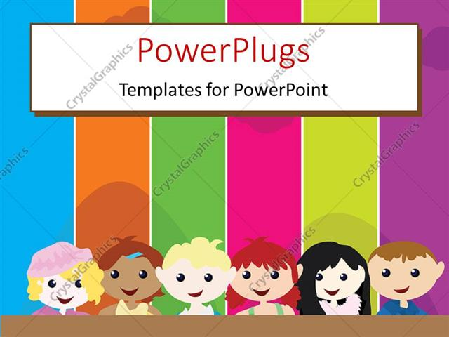 PowerPoint Template a cartoon theme of six kids standing in front