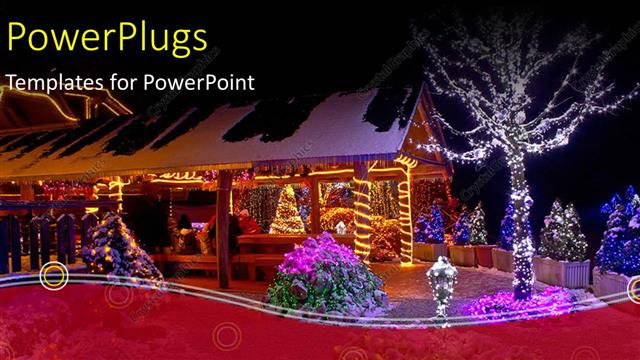 PowerPoint Template a house with some trees and lots of Christmas