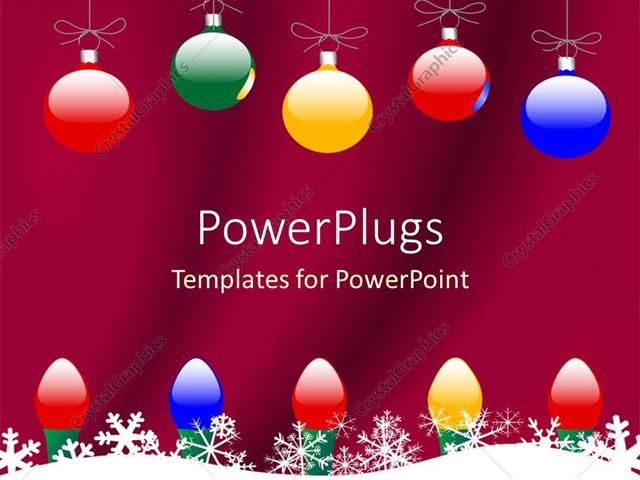 PowerPoint Template Christmas theme with colorful globes and