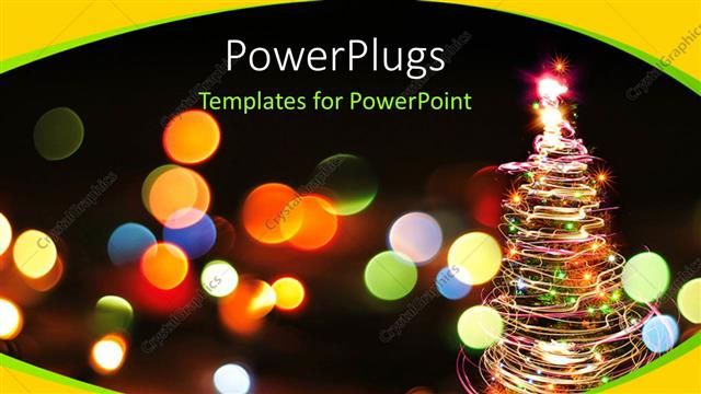 PowerPoint Template a blurry view of lots of dotted lights and a