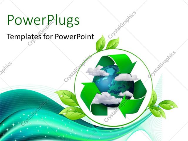 PowerPoint Template Climate change concept planet earth with clouds - recycling powerpoint templates