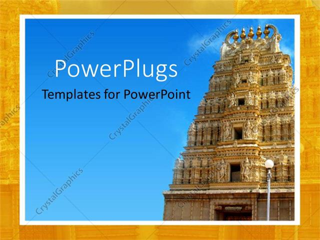 PowerPoint Template close up of ancient Indian temple under blue
