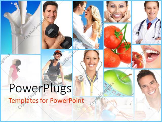 PowerPoint Template collage on people health concept with different