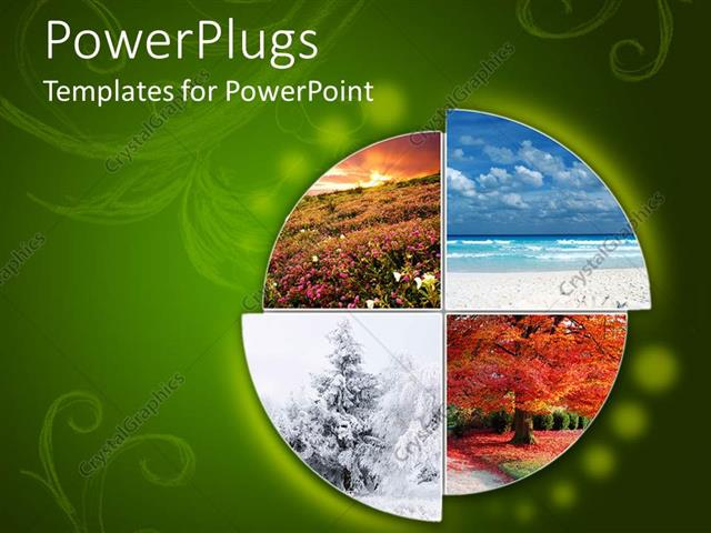 PowerPoint Template collage showing the four climatic seasons in