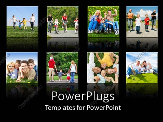 PowerPoint Template collage of smiling families doing different