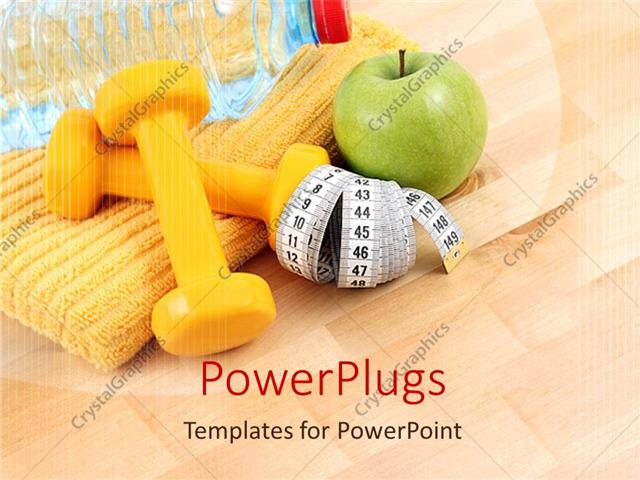 PowerPoint Template a collection of apple, measuring tape and