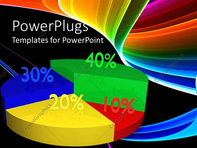PowerPoint Template colorful green, red, yellow, blue pie chart