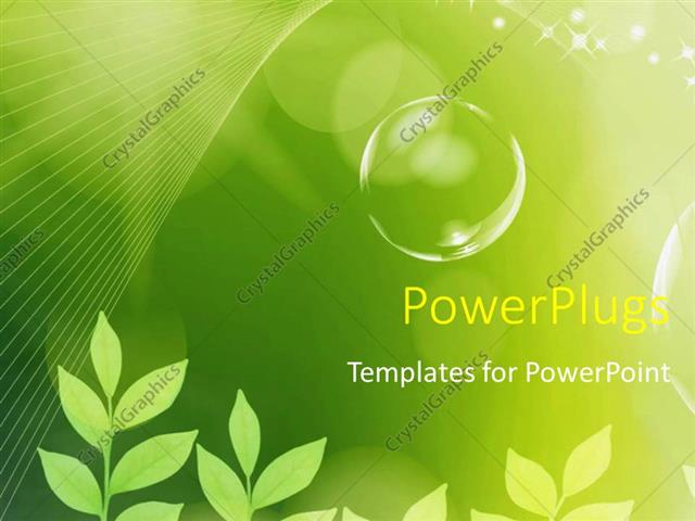 PowerPoint Template The concept of greenery and bubbles (4197)