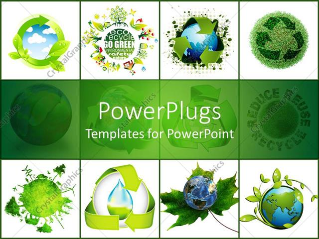 PowerPoint Template concept of recycling the world on white - recycling powerpoint templates