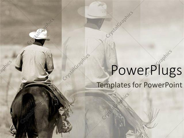 PowerPoint Template a cowboy riding a horse with its reflection in