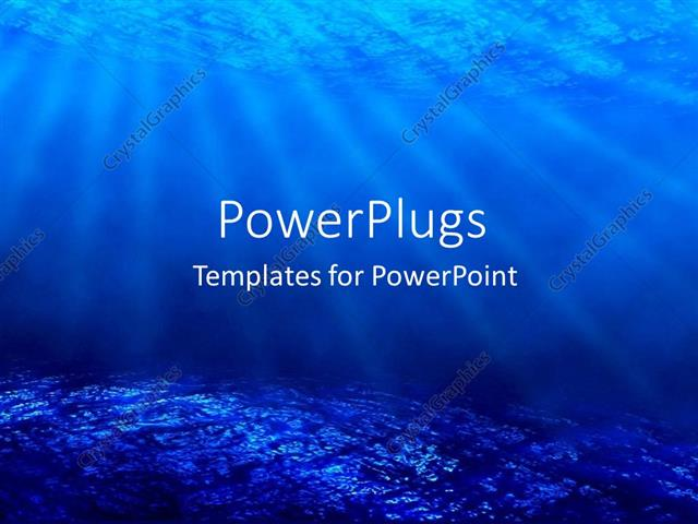 PowerPoint Template deep sea diving with blue coral ocean and sun