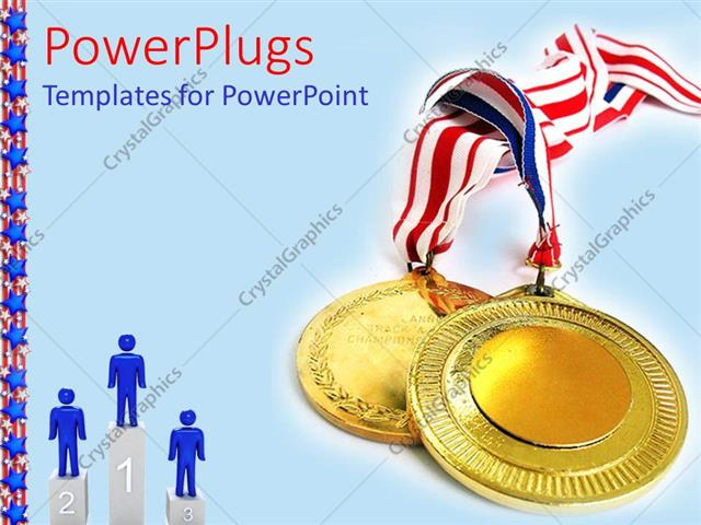 PowerPoint Template a depiction of gold medals along with figures