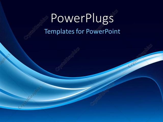 PowerPoint Template Electric blue waves on navy background (5524)