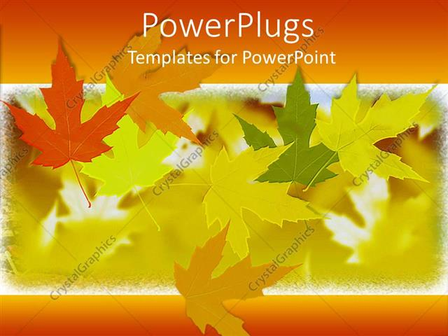 PowerPoint Template Fall autumn leaves in orange, yellow, green