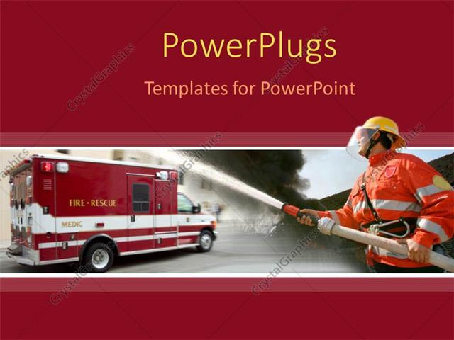 PowerPoint Template a fire fighter holding a water hose in front of