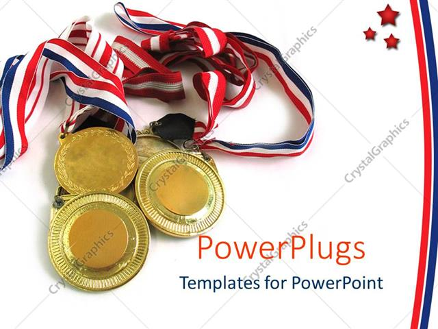 PowerPoint Template four gold medals together on a plain white