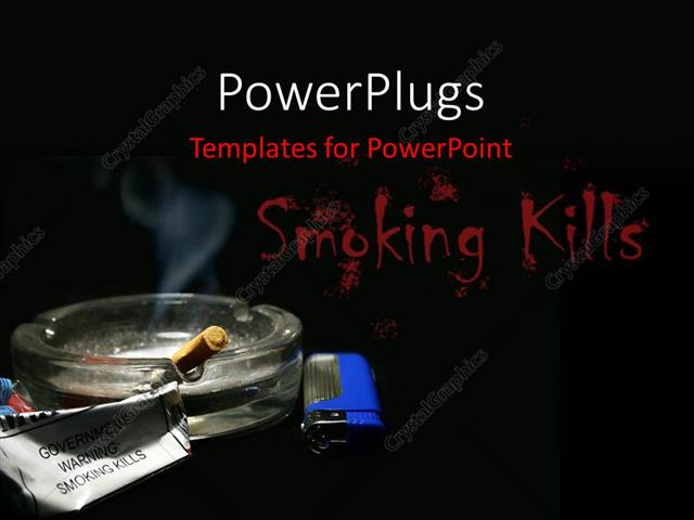 Powerpoint Template A Glass Ash Tray With A Lit Cigarette And Aget