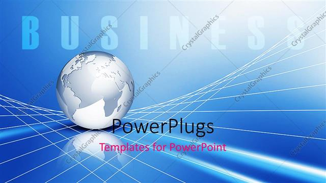 PowerPoint Template Global business metaphor with silver Earth - global powerpoint template