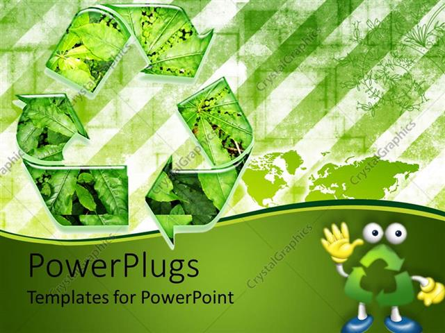 PowerPoint Template go green recycle environmental green leaves (24725)