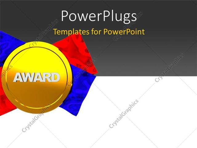 PowerPoint Template Gold medal award with red and blue ribbon on