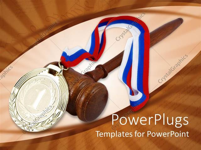 PowerPoint Template Gold medal with red white and blue ribbon - gold medal templates