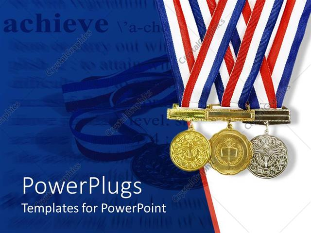 PowerPoint Template Gold, silver and bronze achievement medals on a