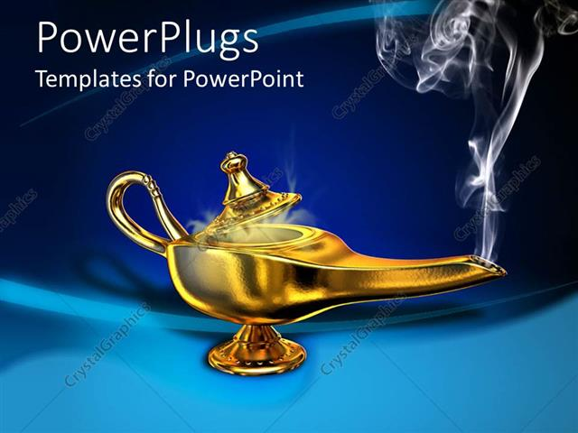 PowerPoint Template a golden magic lamp with smoke coming out of it