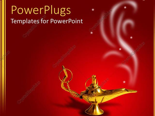 PowerPoint Template a golden magic lamp with smoke on red