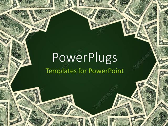 PowerPoint Template Green background framed by piles of money (20656) - money background for powerpoint
