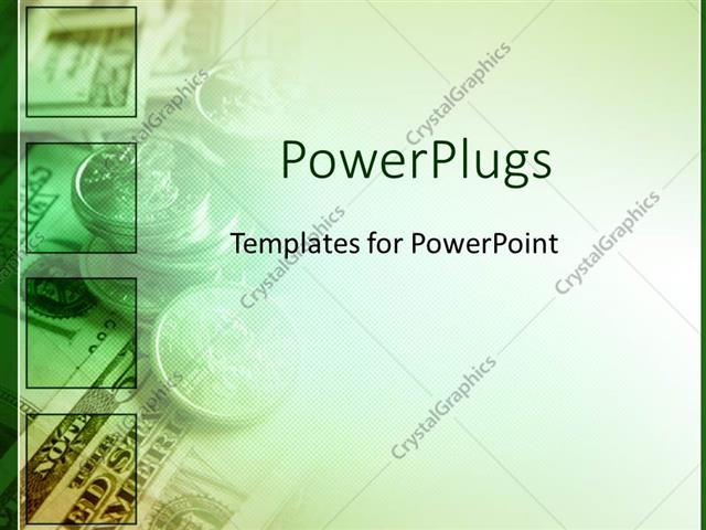 PowerPoint Template green money for finances as a metaphor on a