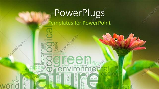 PowerPoint Template Green nature environment word collage with two