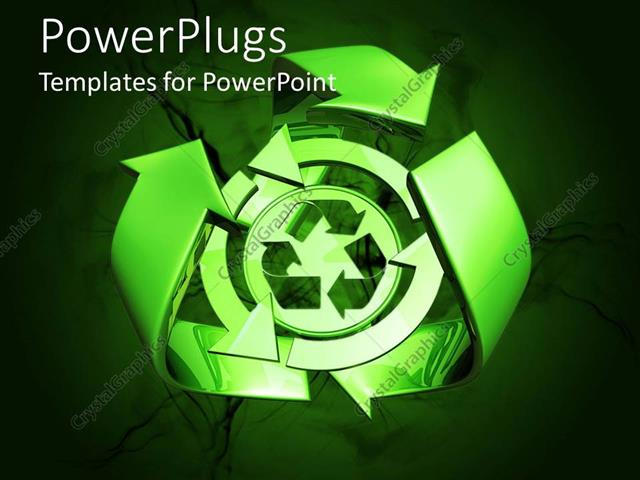 PowerPoint Template Green recycle symbol, recycling, ecology - recycling powerpoint templates