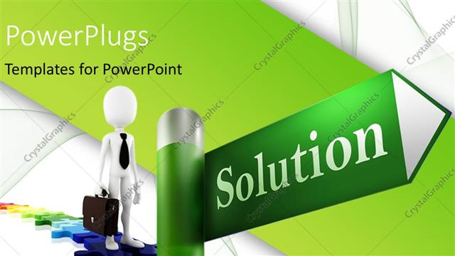 PowerPoint Template 3D business professional walks on jigsaw road