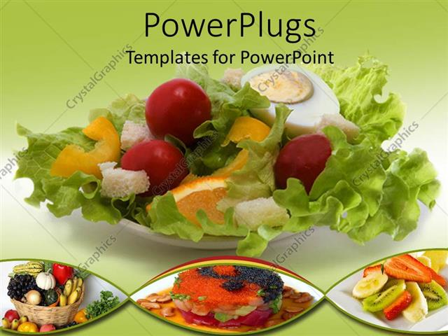 PowerPoint Template Healthy eating with salad, fruit basket and