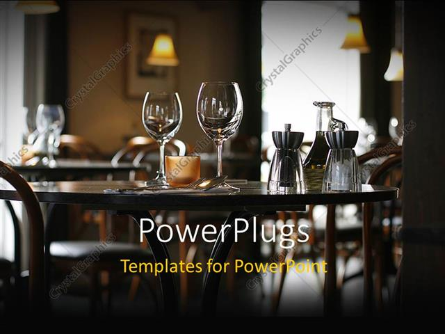 PowerPoint Template Interior of a cozy restaurant focusing on a