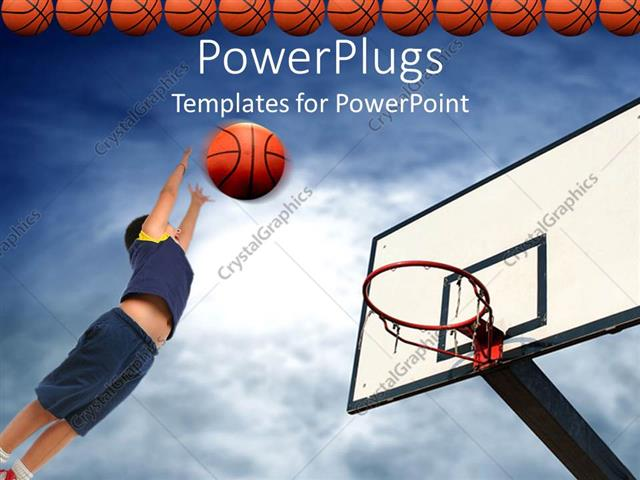 PowerPoint Template kid playing basketball aiming basketball to - basketball powerpoint template
