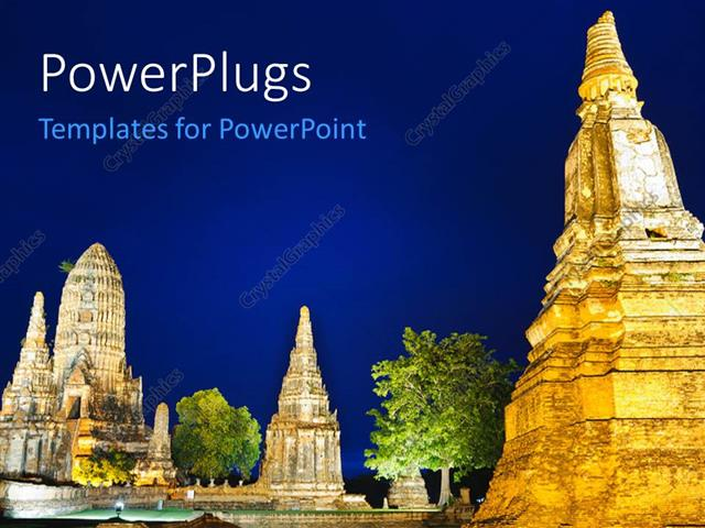 PowerPoint Template Landscape of ancient Thai temple and trees on