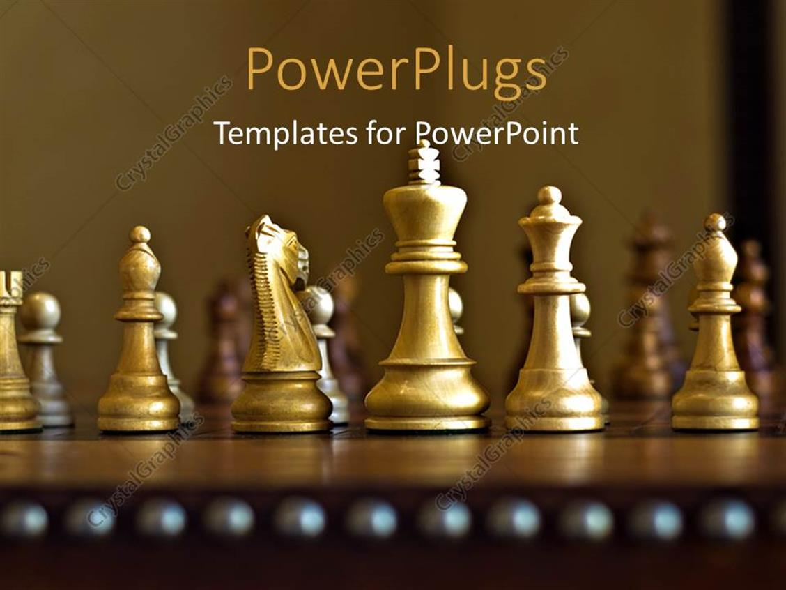 Gold Chess Pieces Powerpoint Template Lots Of Gold Colored Chess Pieces On A Chess