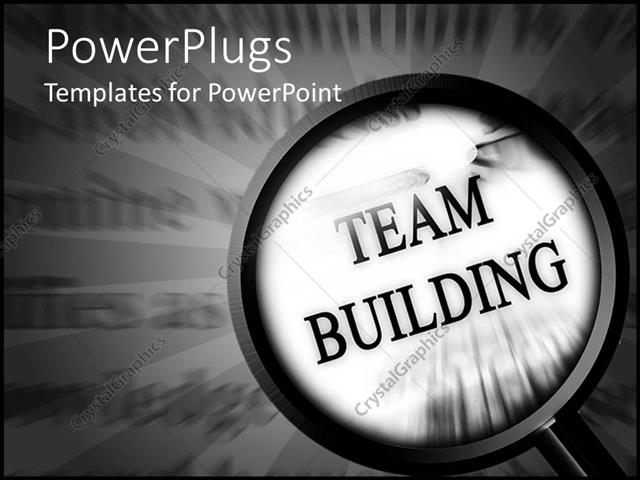 PowerPoint Template magnifying glass on team building words on