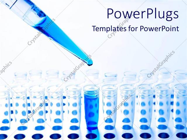 PowerPoint Template Medical science pipette and test tubes and blue