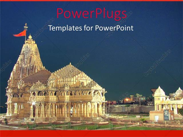 PowerPoint Template Modern design of Temple of Somnath in gold with