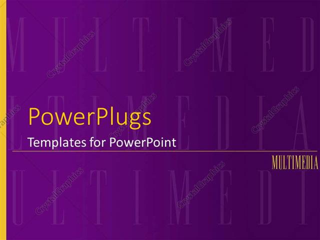 PowerPoint Template Multimedia purple background with yellow word