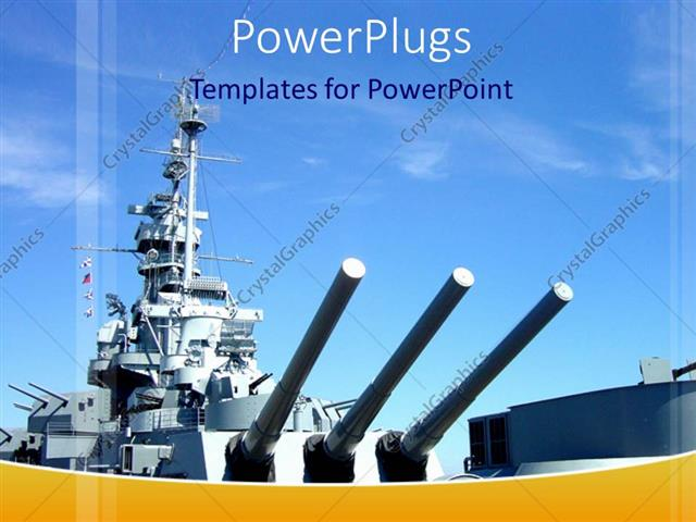 PowerPoint Template Naval gun ship with blue sky, military, navy (9199)